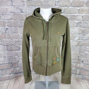 Rip Curl Hoodie Olive Embroidered Size Medium